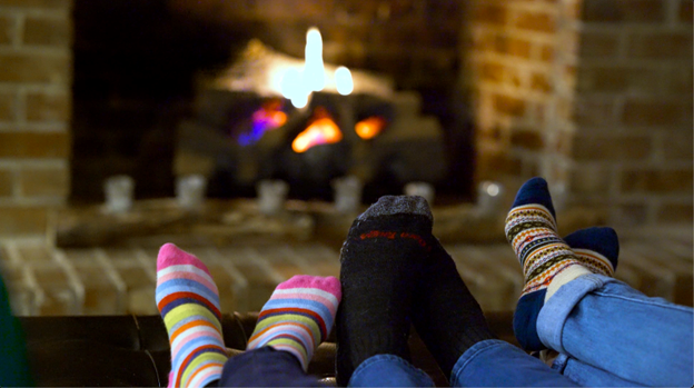 Cozy feet in front of the fire