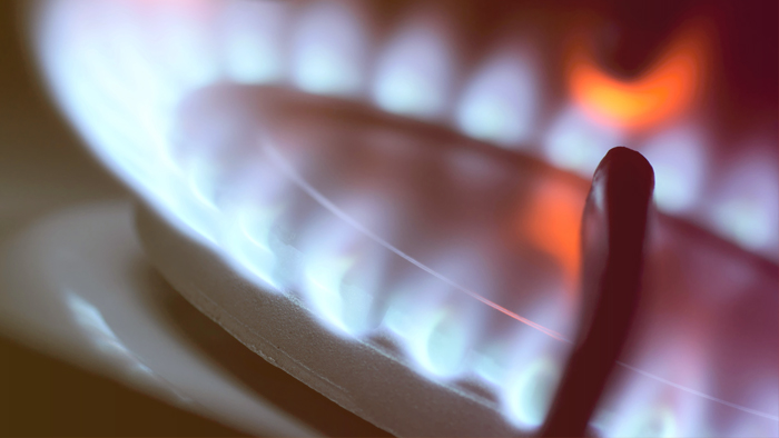 close-up of flames from a gas burning stove