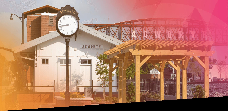 Acworth GA train station and sign